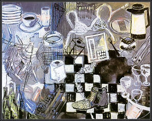"Still life. 63"" x 79"" (160 x 200 cm) Oil on canvas. 1997."